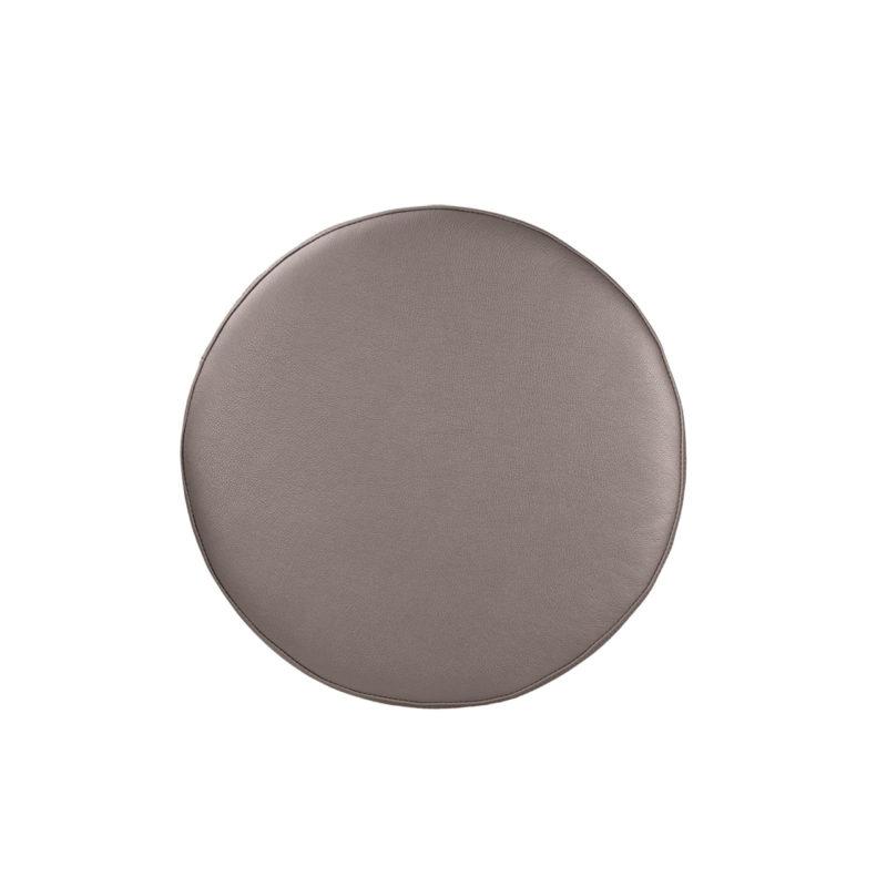Lederen poef Metallic Platinum