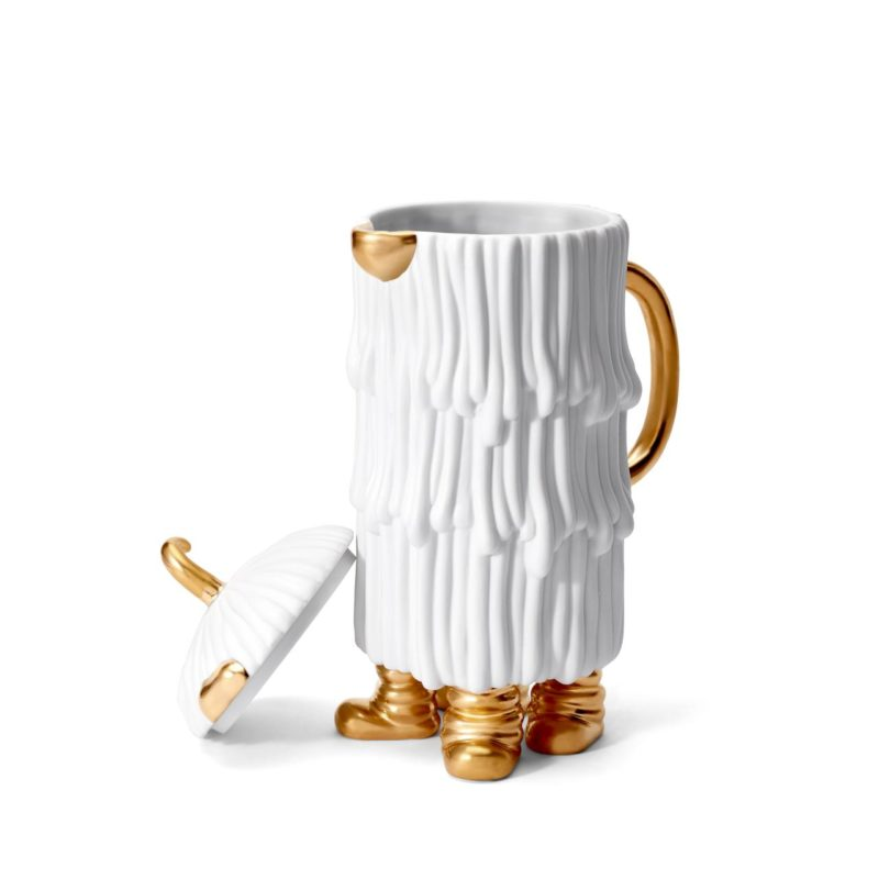Djuna koffie- en theepot wit/goud